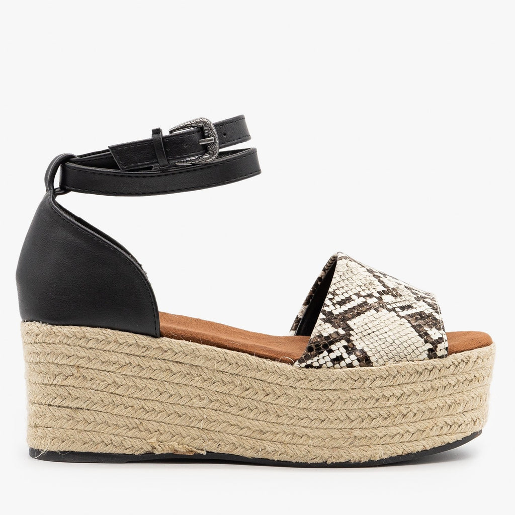 Womens Snake Wraparound Ankle Espadrille Wedges - Qupid Shoes - Black / 5