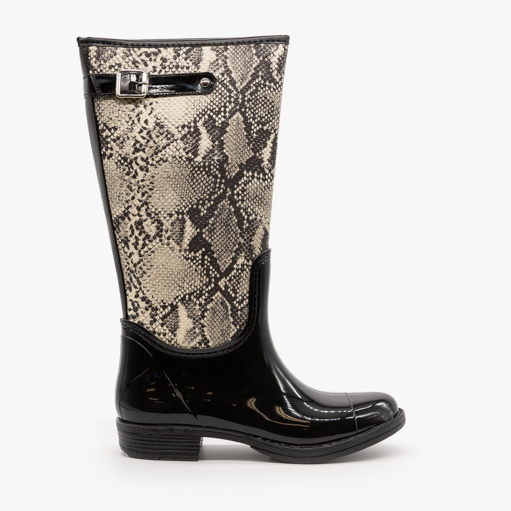 Womens Snakeskin Rain Boots - Qupid Shoes - Stone Black Snake / 5