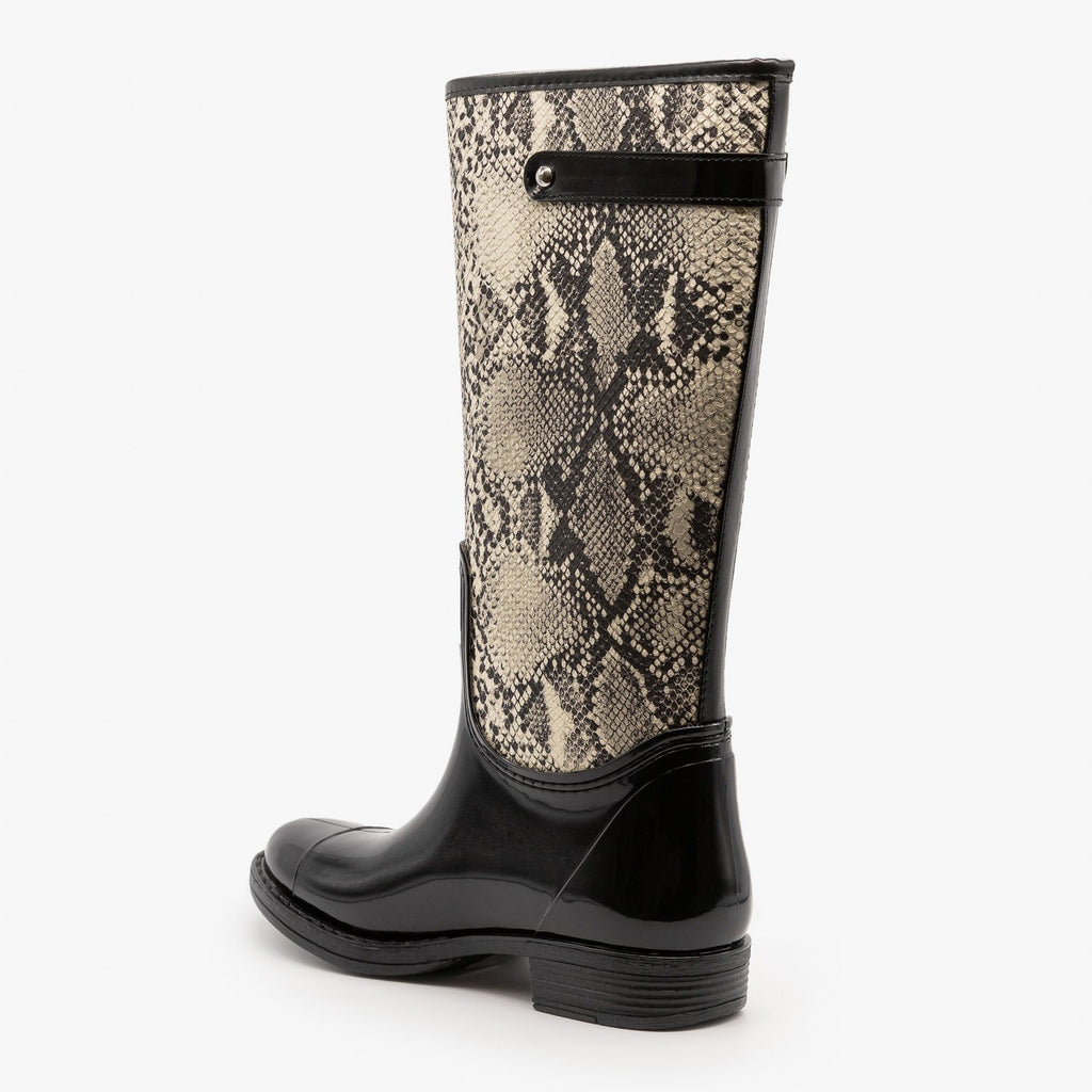 Womens Snakeskin Rain Boots - Qupid Shoes