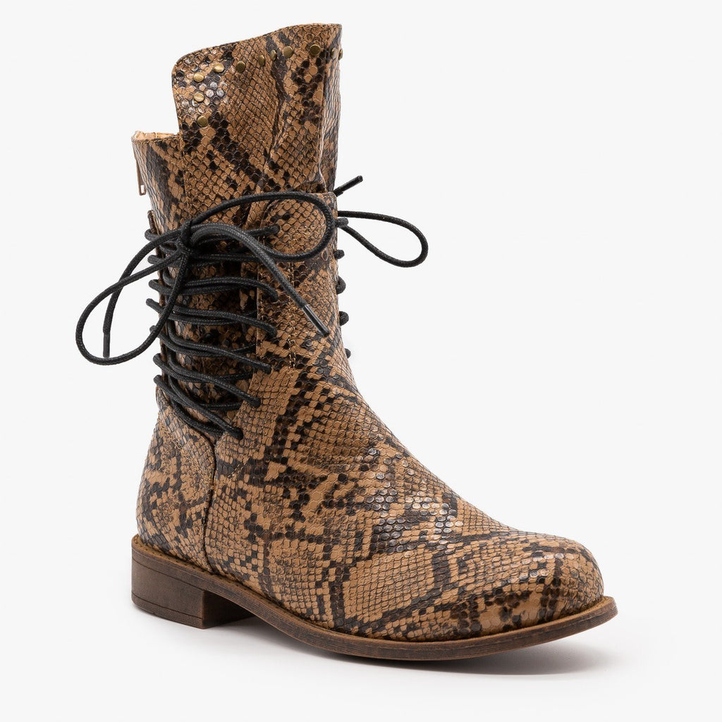 Womens Snakeskin Side Laced Booties - Mata - Brown Snake / 5