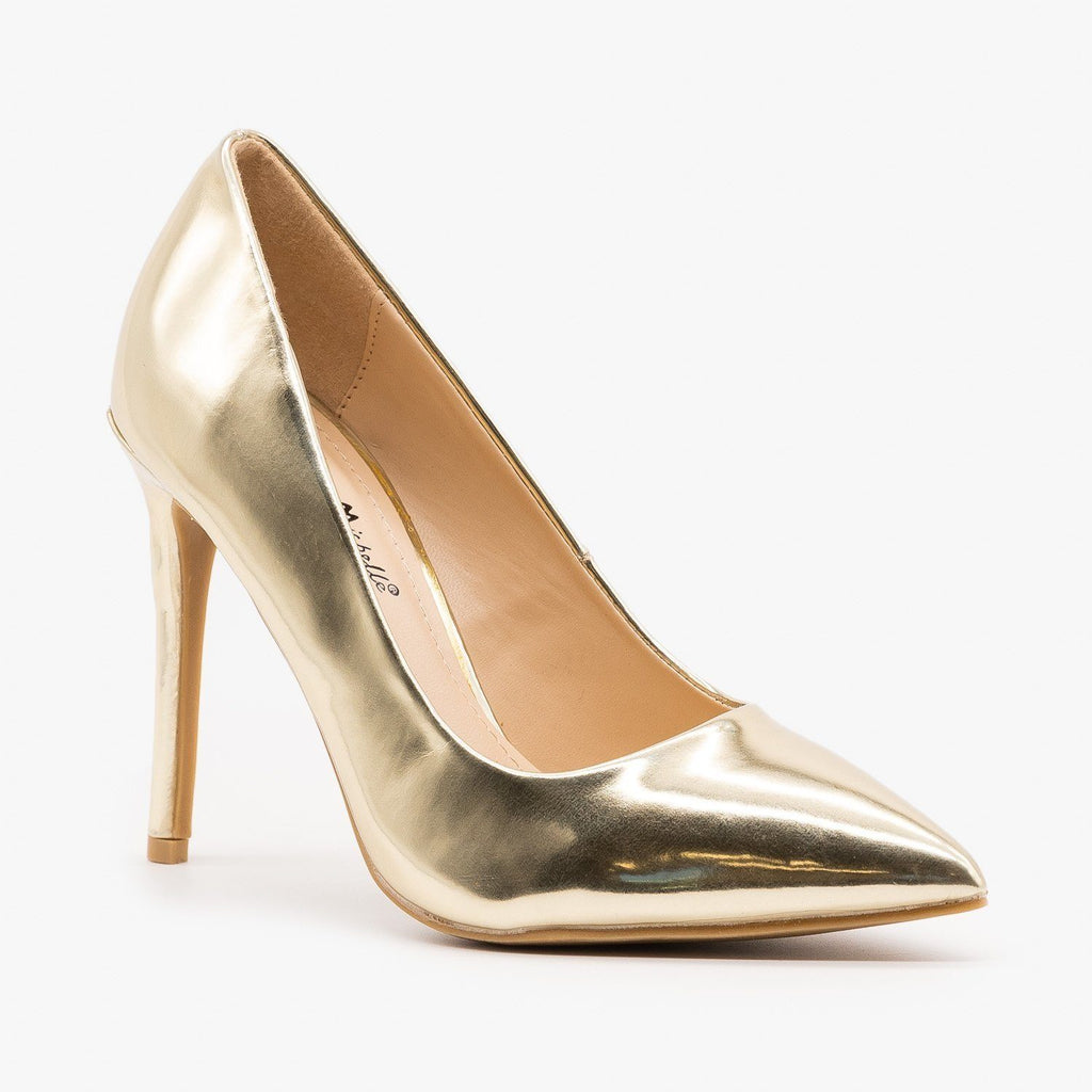 Womens Snazzy Pointed Toe Stilettos - Anne Michelle - Gold / 5