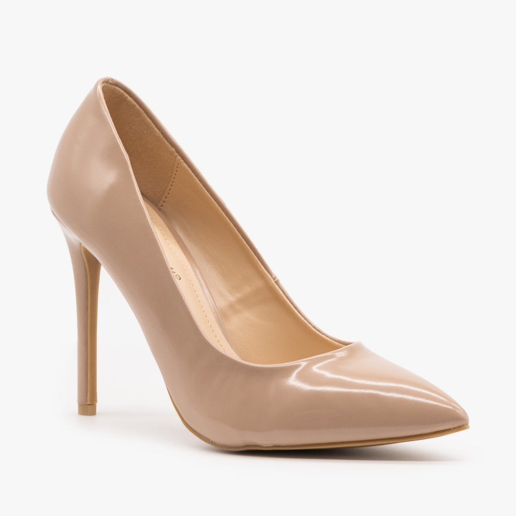 Womens Snazzy Pointed Toe Stilettos - Anne Michelle - Nude / 5