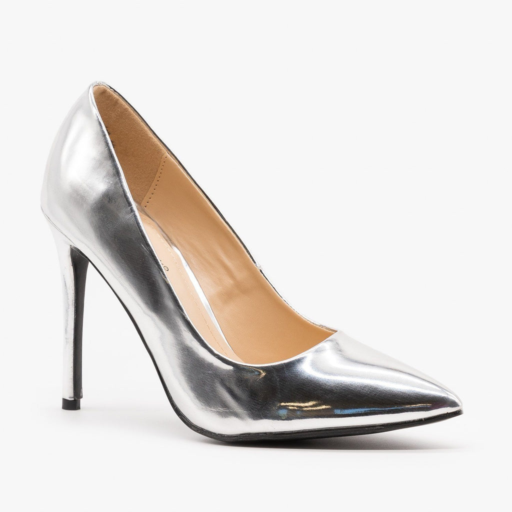Womens Snazzy Pointed Toe Stilettos - Anne Michelle - Silver / 5
