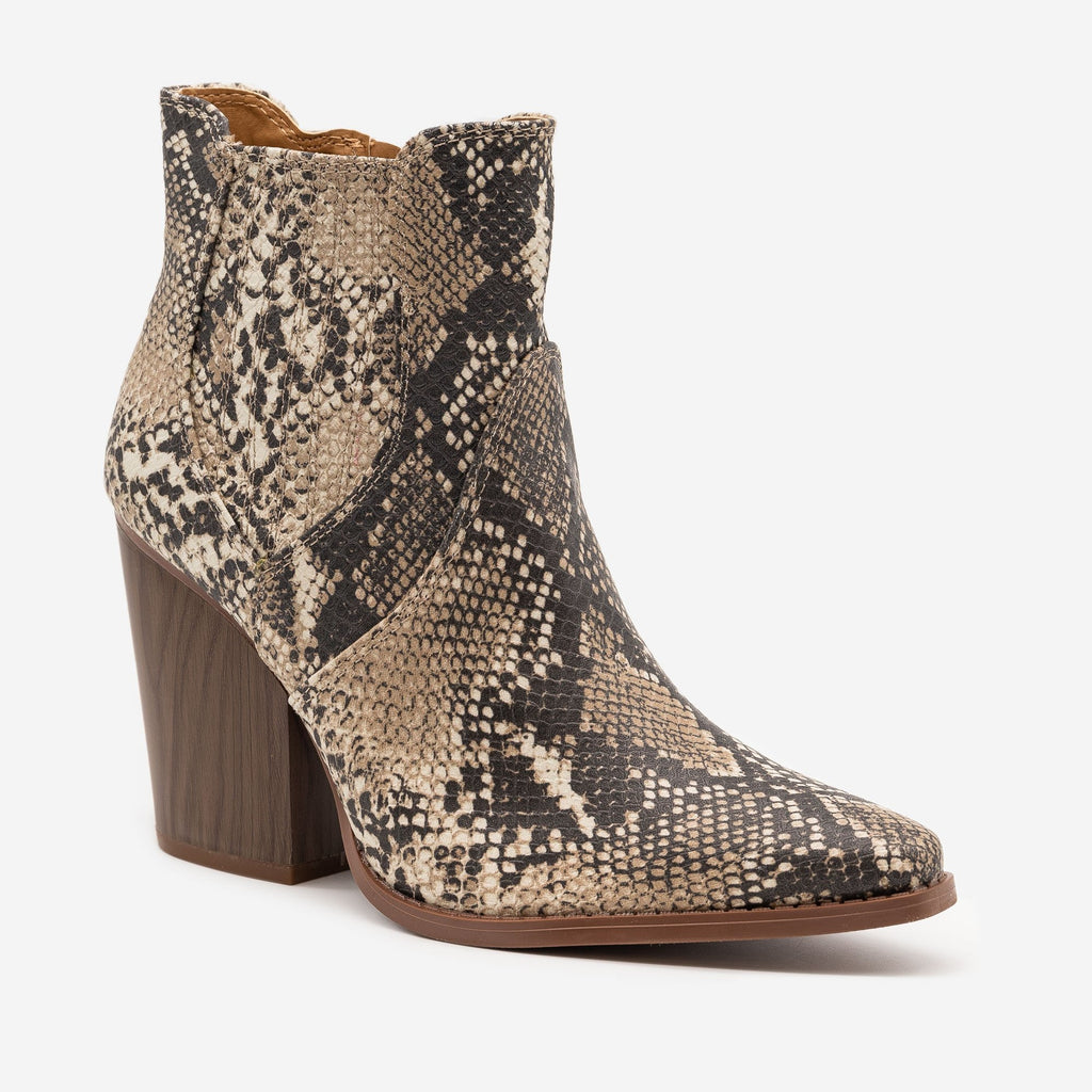 Women's Snazzy Snake Print Booties - Qupid Shoes