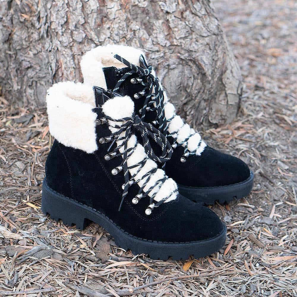 Women's Soft Combat Styled Boots - Mata - Black / 5