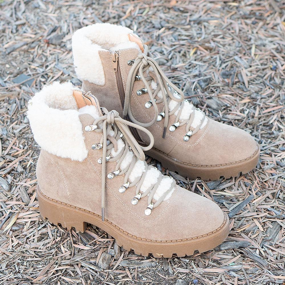 Women's Soft Combat Styled Boots - Mata - Taupe / 5