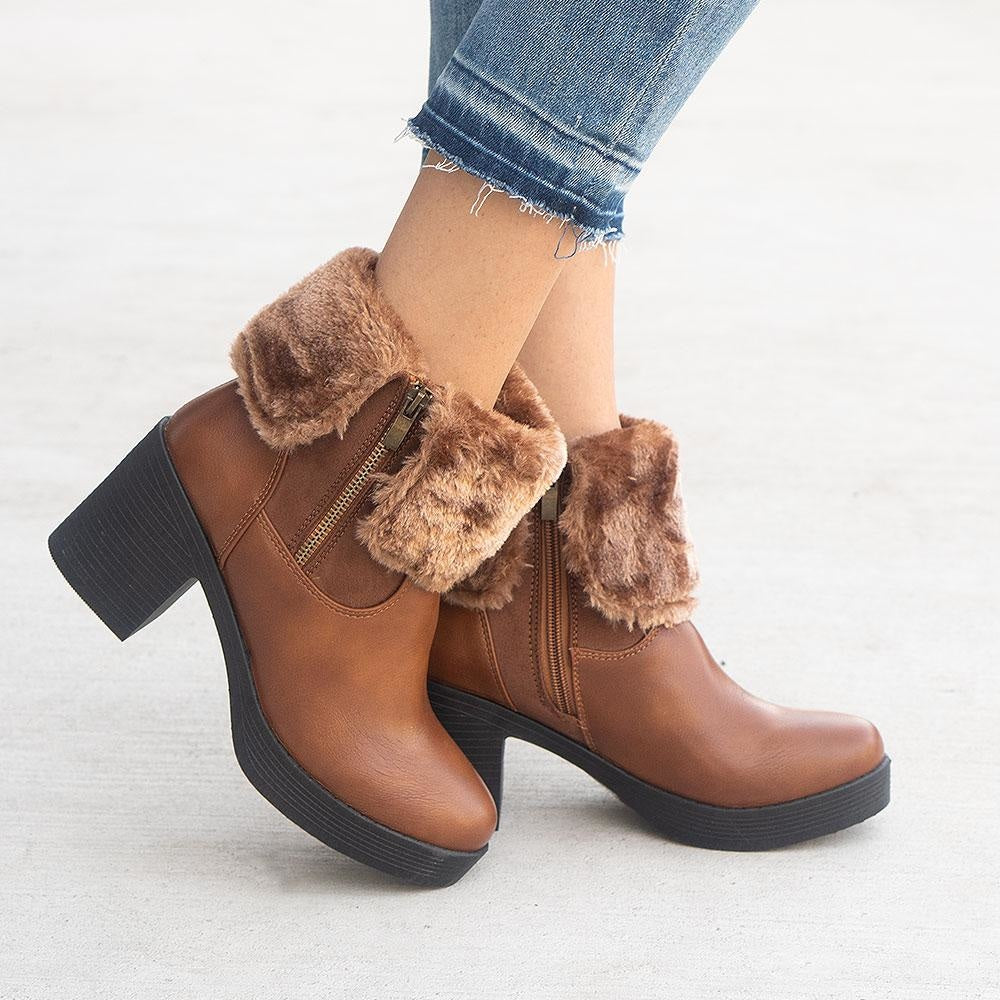 Women's Soft Folded Ankle Booties - Forever - Tan / 5