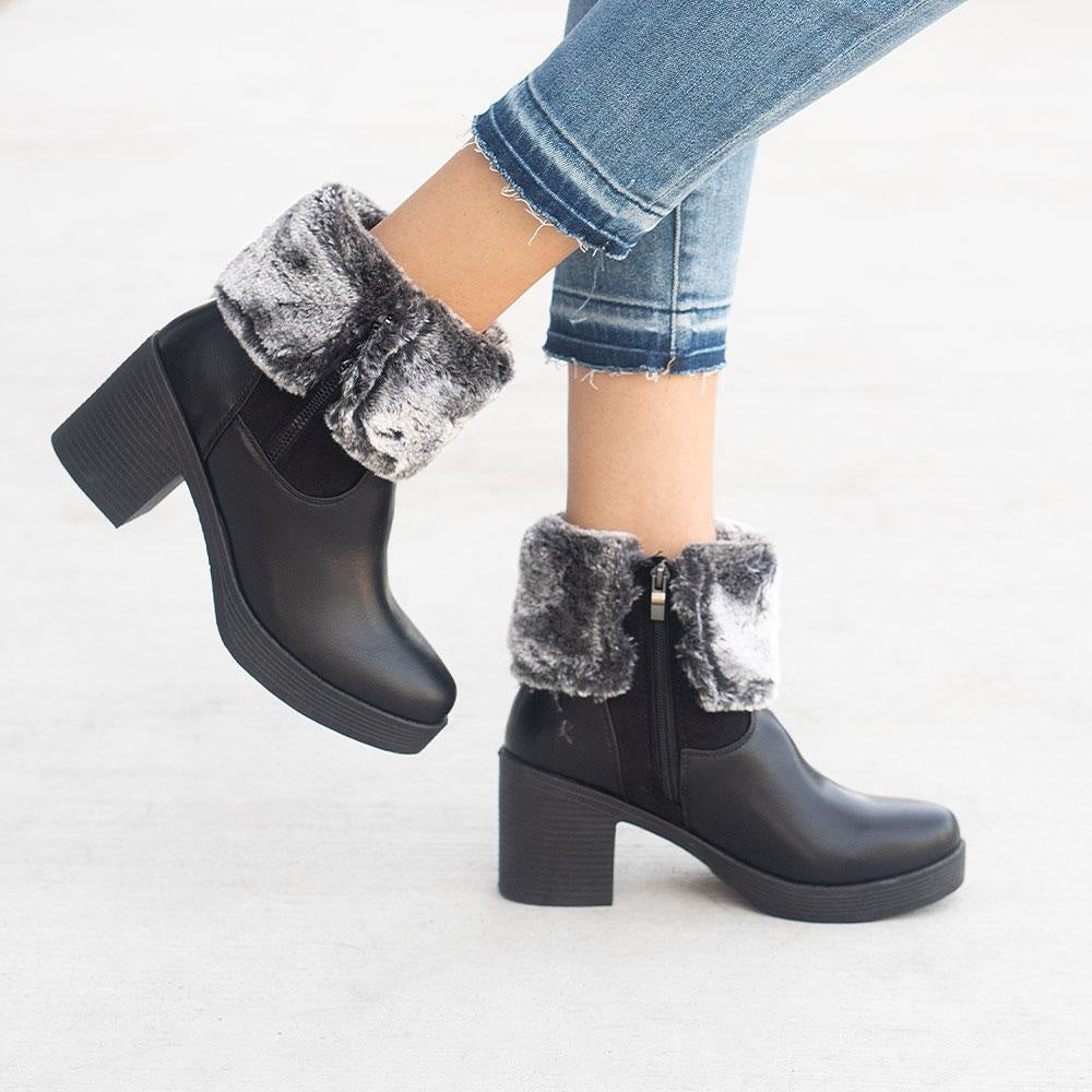 Women's Soft Folded Ankle Booties - Forever - Black / 5