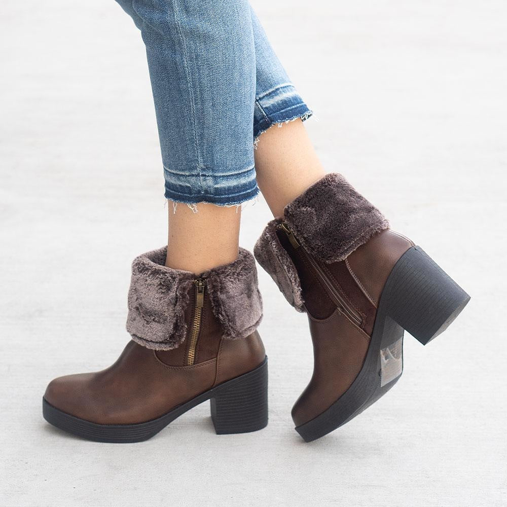 Women's Soft Folded Ankle Booties - Forever - Brown / 5