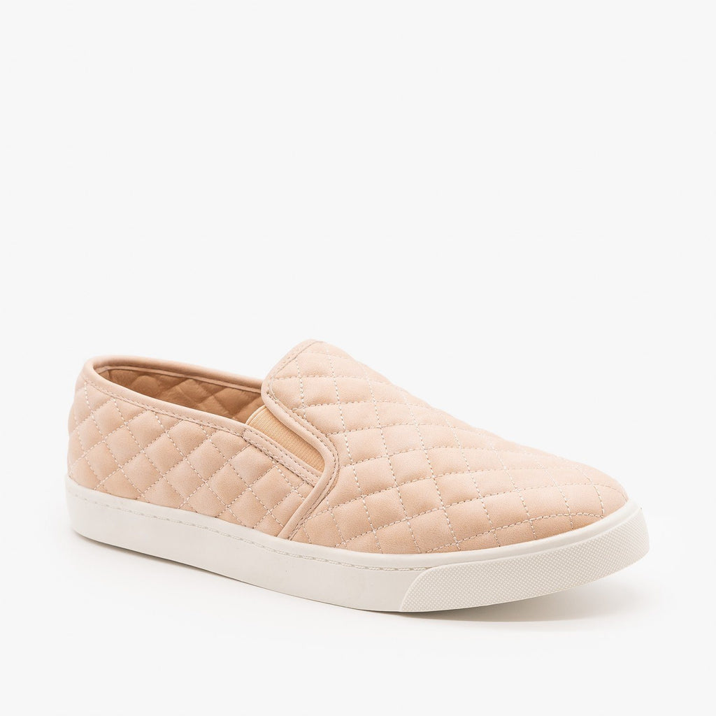 Womens Soft Quilted Slip-On Sneakers - Soda Shoes - Blush / 5