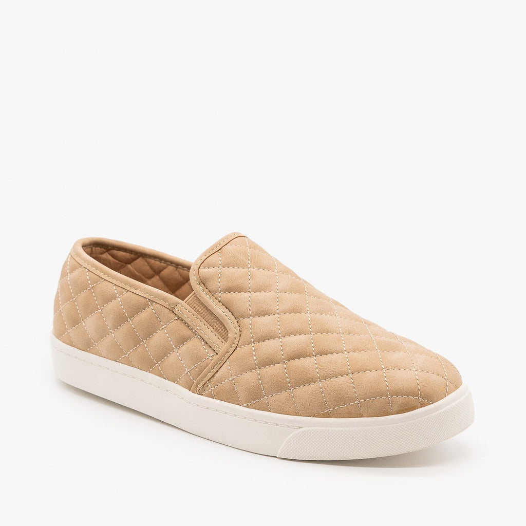 Womens Soft Quilted Slip-On Sneakers - Soda Shoes - Taupe / 5