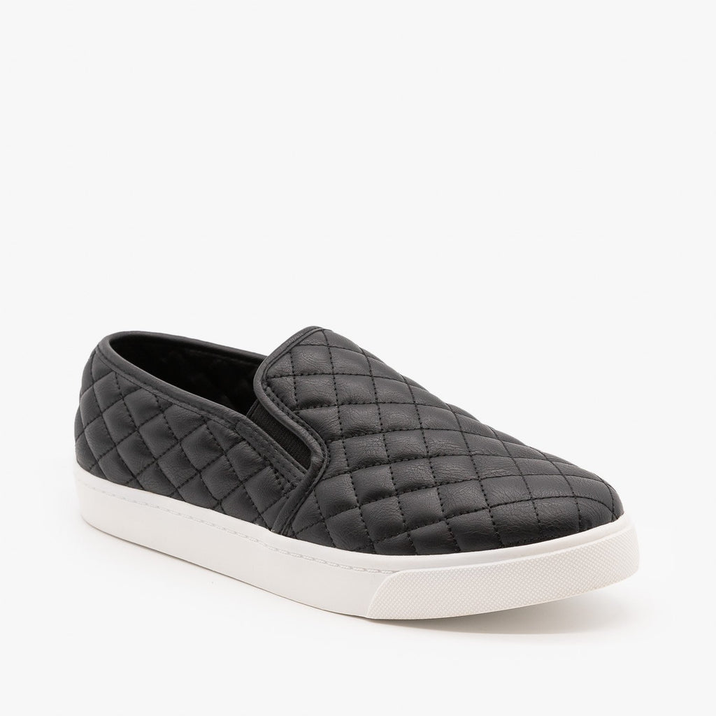 Womens Soft Quilted Slip-On Sneakers - Soda Shoes - Black / 5