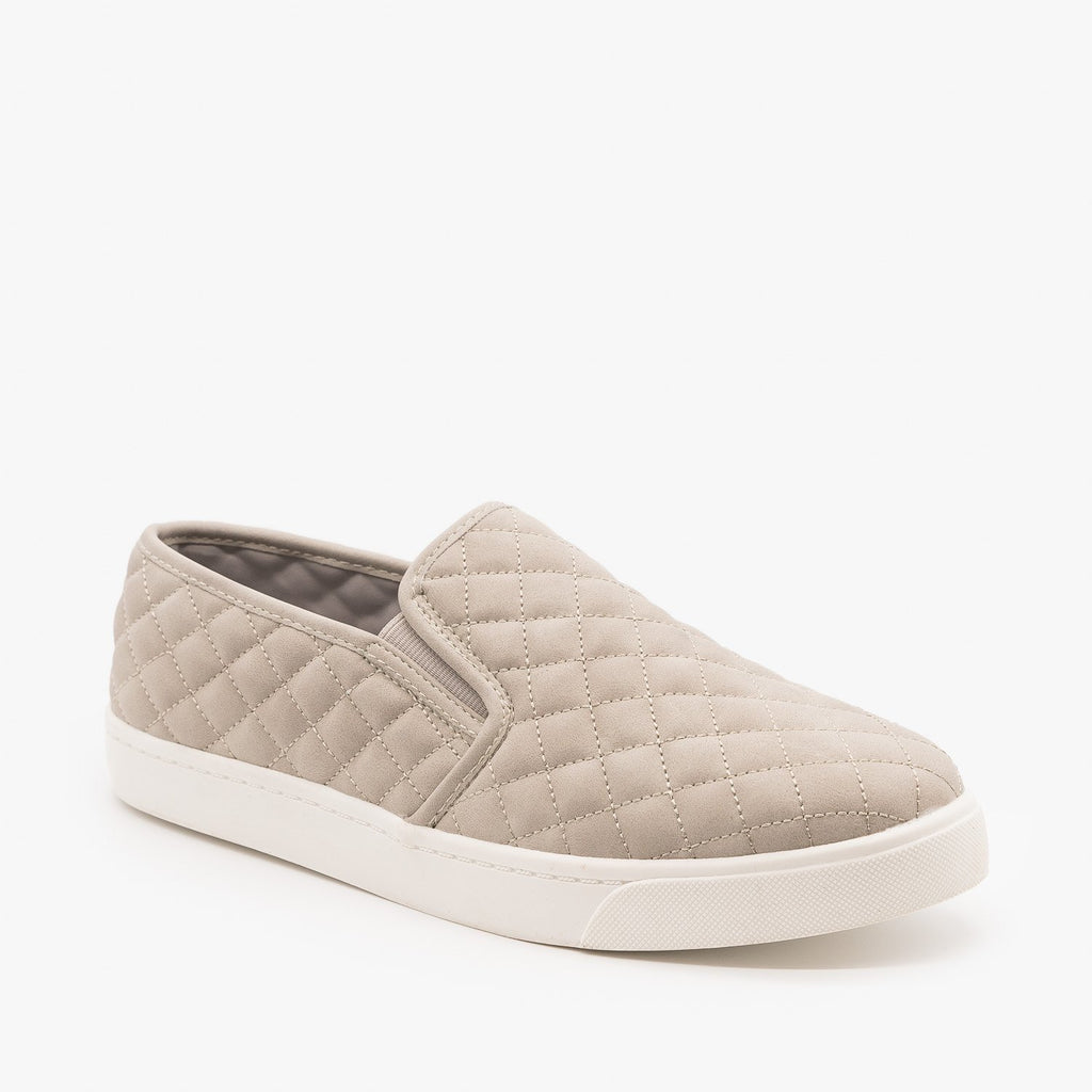 Womens Soft Quilted Slip-On Sneakers - Soda Shoes - Gray / 5