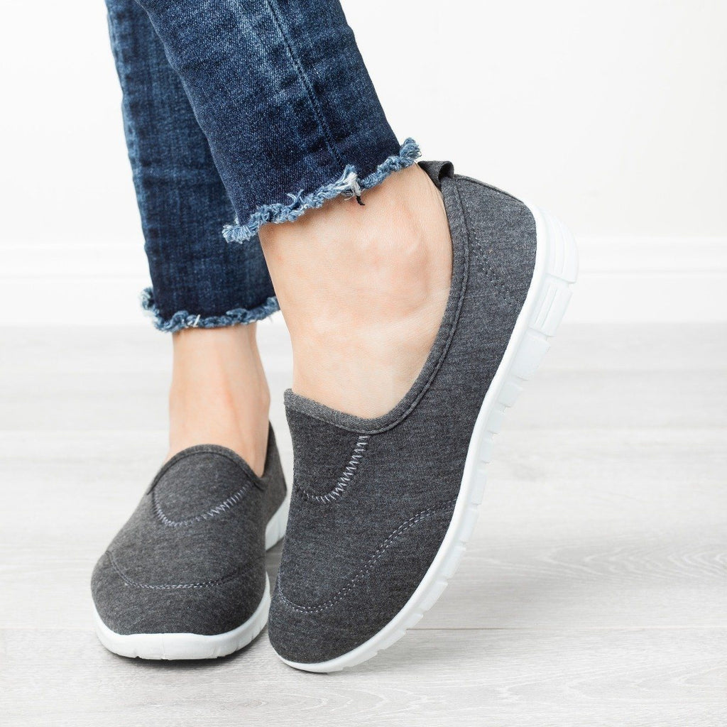 Womens Soft Slip-On Sneakers - Refresh - Charcoal / 5