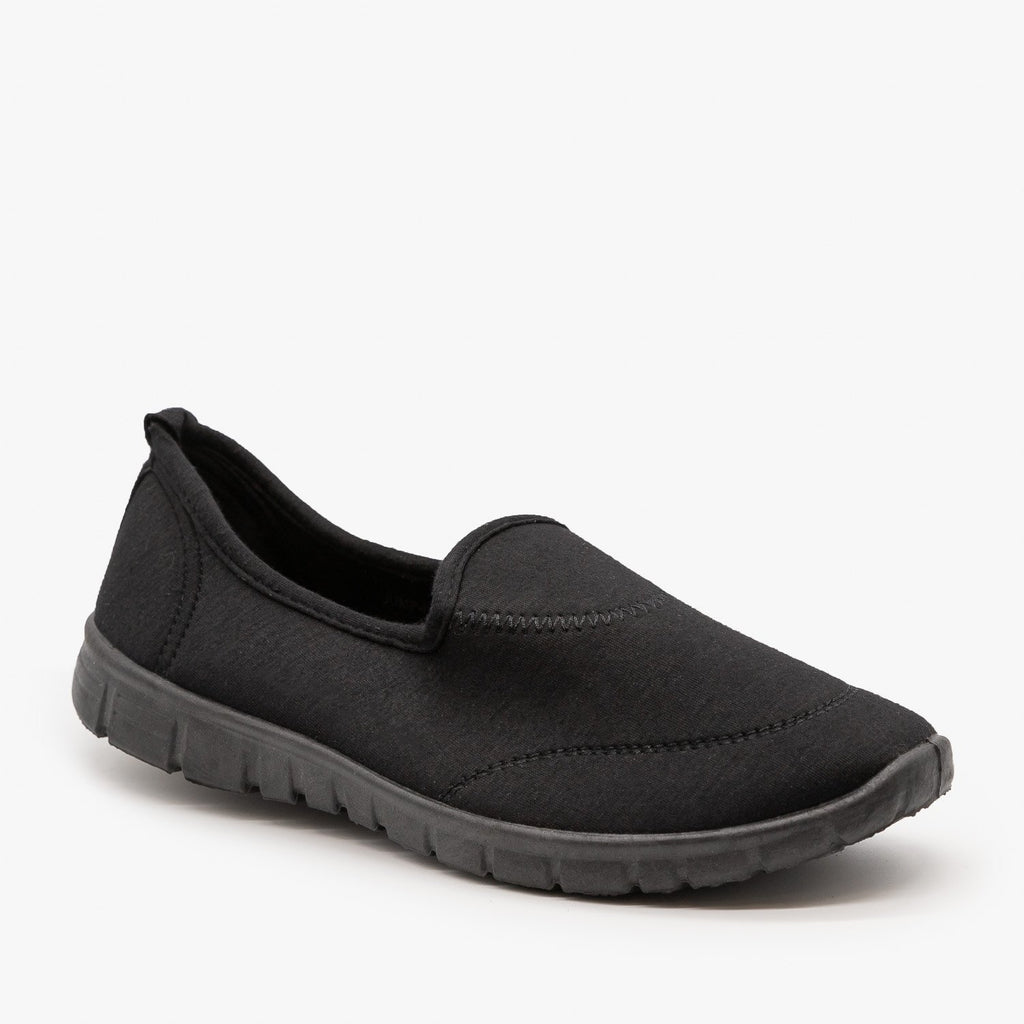 Womens Soft Slip-On Sneakers - Refresh - Black / 5