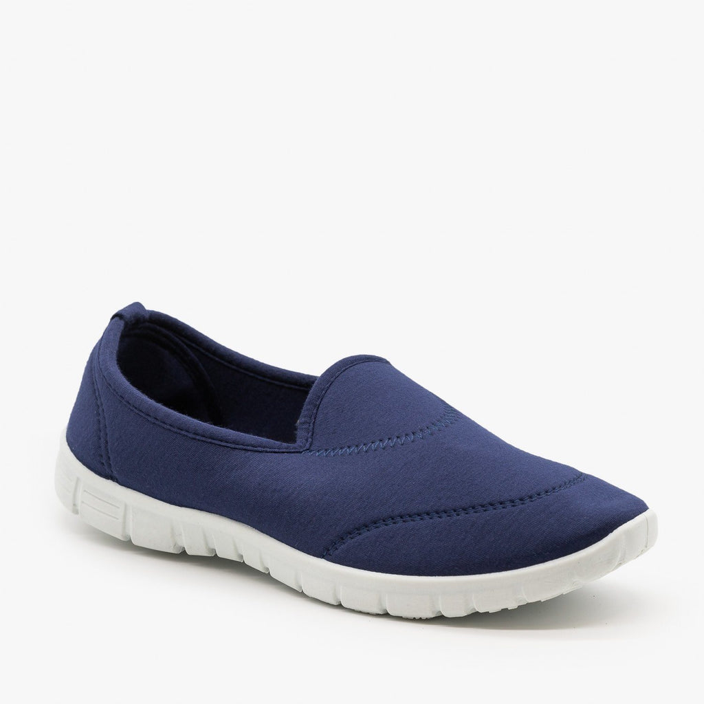 Womens Soft Slip-On Sneakers - Refresh - Navy / 5