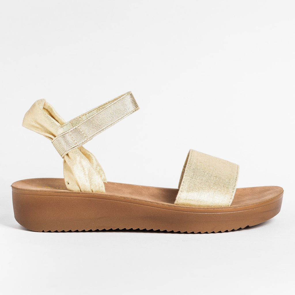 Womens Soft Stylish Cork Sole Sandals - Bamboo Shoes - Gold / 5