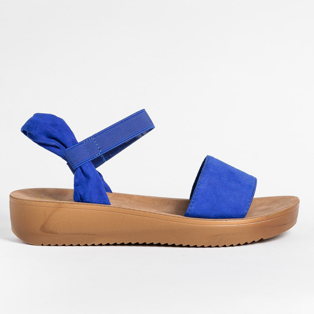 Womens Soft Stylish Cork Sole Sandals - Bamboo Shoes - Electric Blue / 5