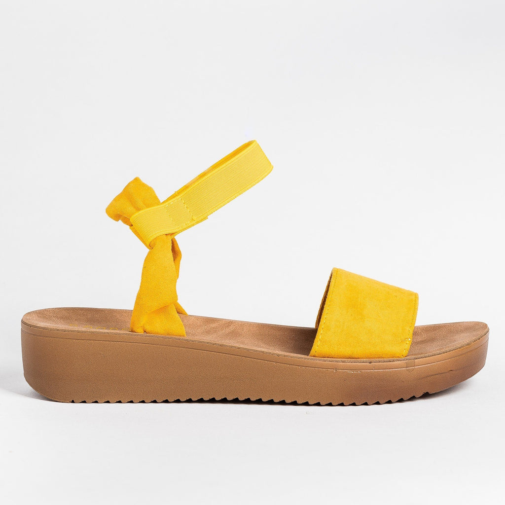 Womens Soft Stylish Cork Sole Sandals - Bamboo Shoes - Marigold / 5