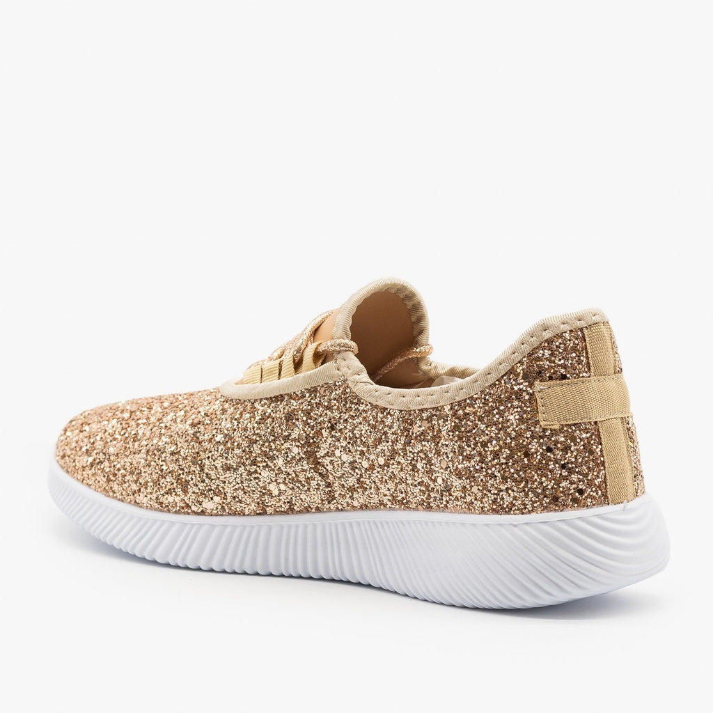 Womens Solid Glitter Fashion Sneakers - Soho Girls