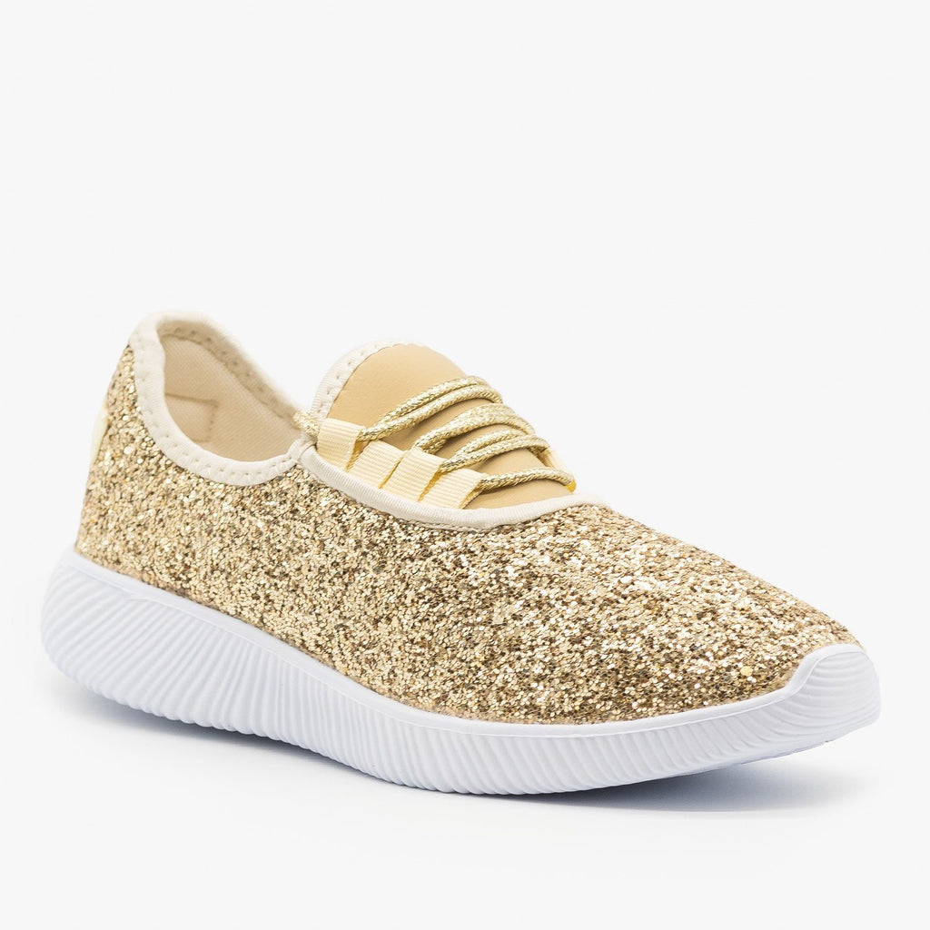 Womens Solid Glitter Fashion Sneakers - Soho Girls - Gold / 5