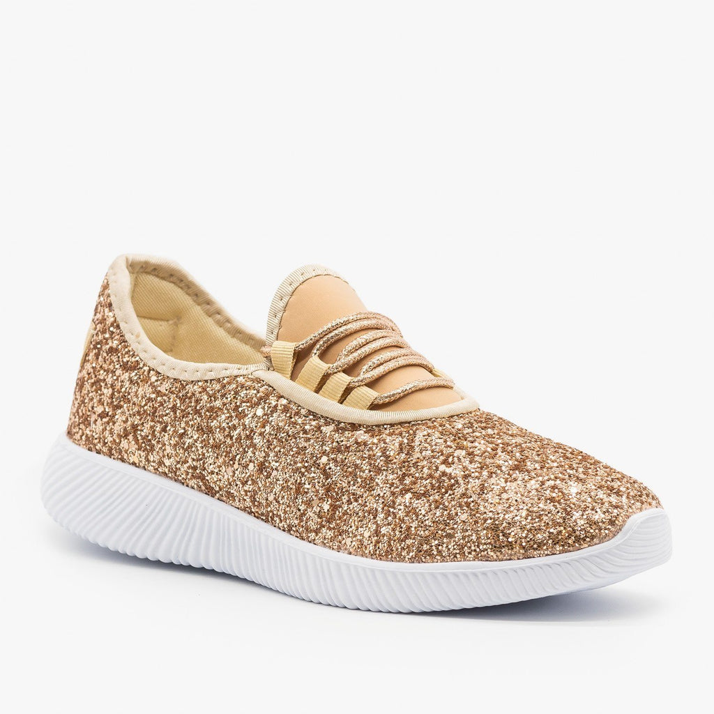Womens Solid Glitter Fashion Sneakers - Soho Girls - Rose Gold / 5