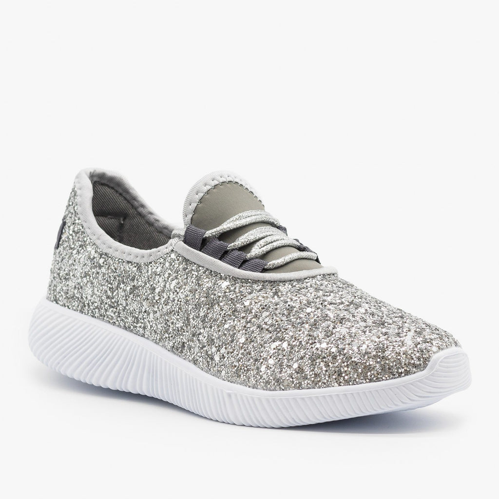 Womens Solid Glitter Fashion Sneakers - Soho Girls - Silver / 5
