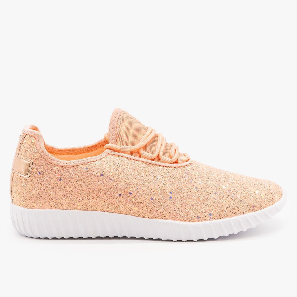 Womens Sparkly Glitter Sneakers - Forever - Dusty Rose / 5