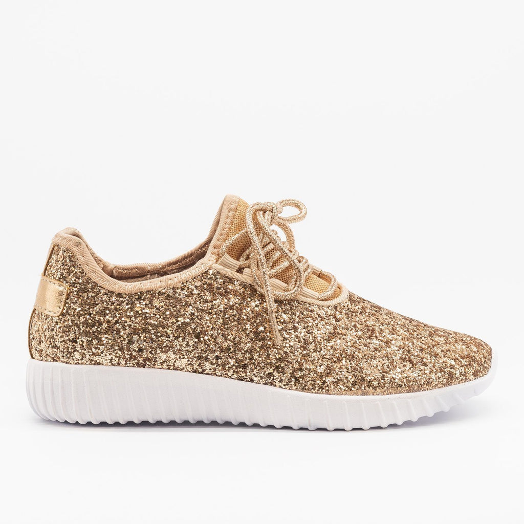 Womens Sparkly Glitter Sneakers - Forever - Rose Gold / 5