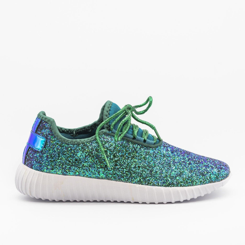 Womens Sparkly Glitter Sneakers - Forever - Green / 5