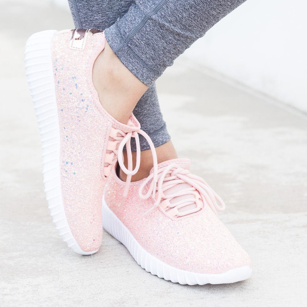 Womens Sparkly Glitter Sneakers - Forever - Pink / 5