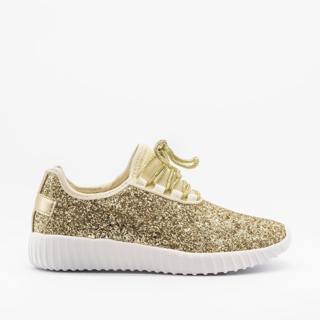 Womens Sparkly Glitter Sneakers - Forever - Gold / 5