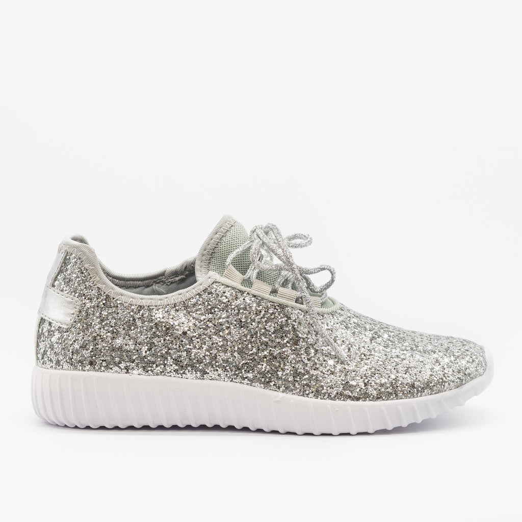 Womens Sparkly Glitter Sneakers - Forever - Silver / 5