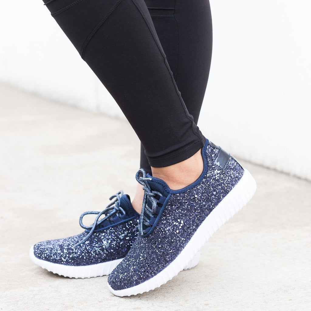 Womens Sparkly Glitter Sneakers - Forever - Navy / 5