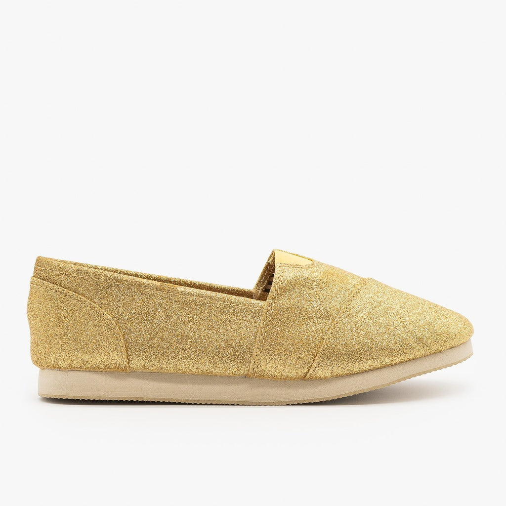 Womens Sparkly Gold Slip On Flats - Soda Shoes - Dark Gold / 5