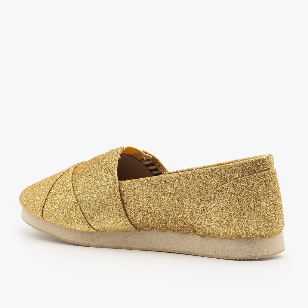 Womens Sparkly Gold Slip On Flats - Soda Shoes