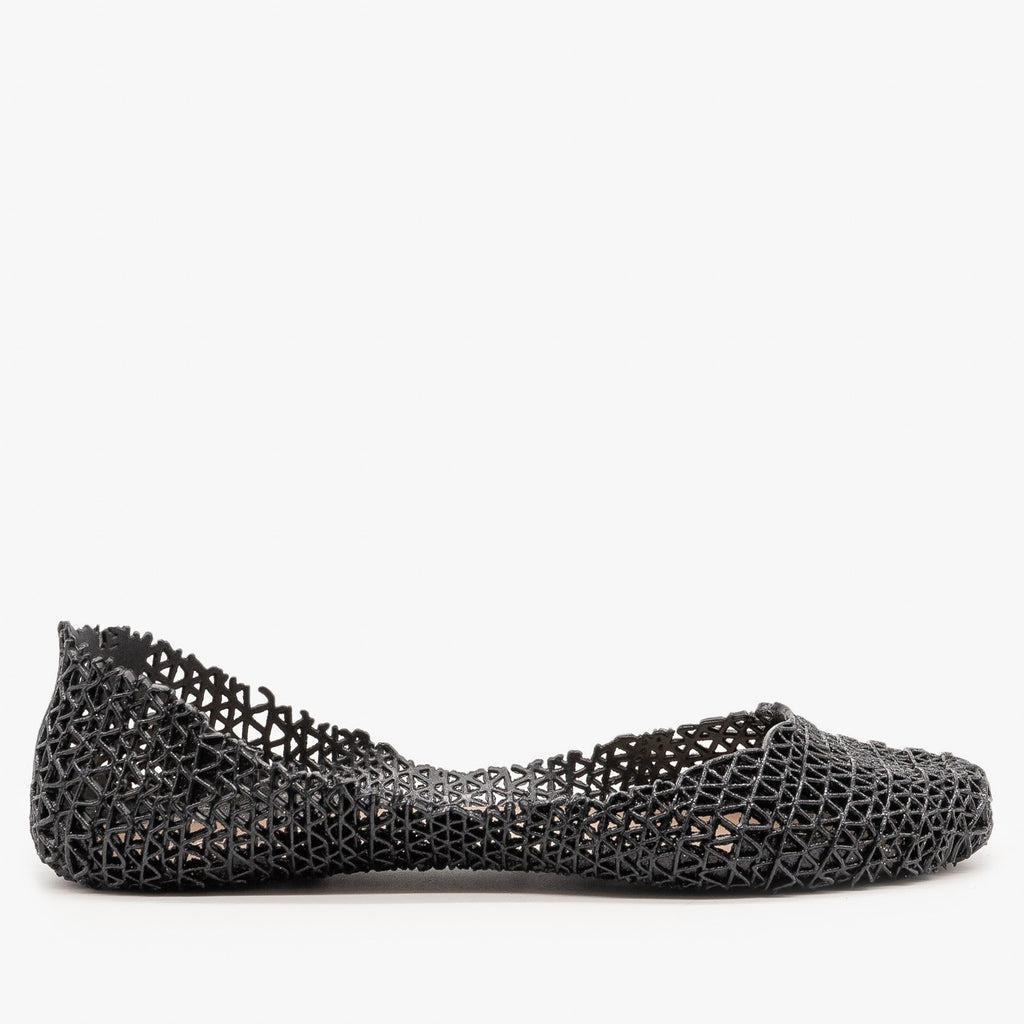 Womens Sparkly Jelly Ballet Flats - Anna Shoes - Black / 5