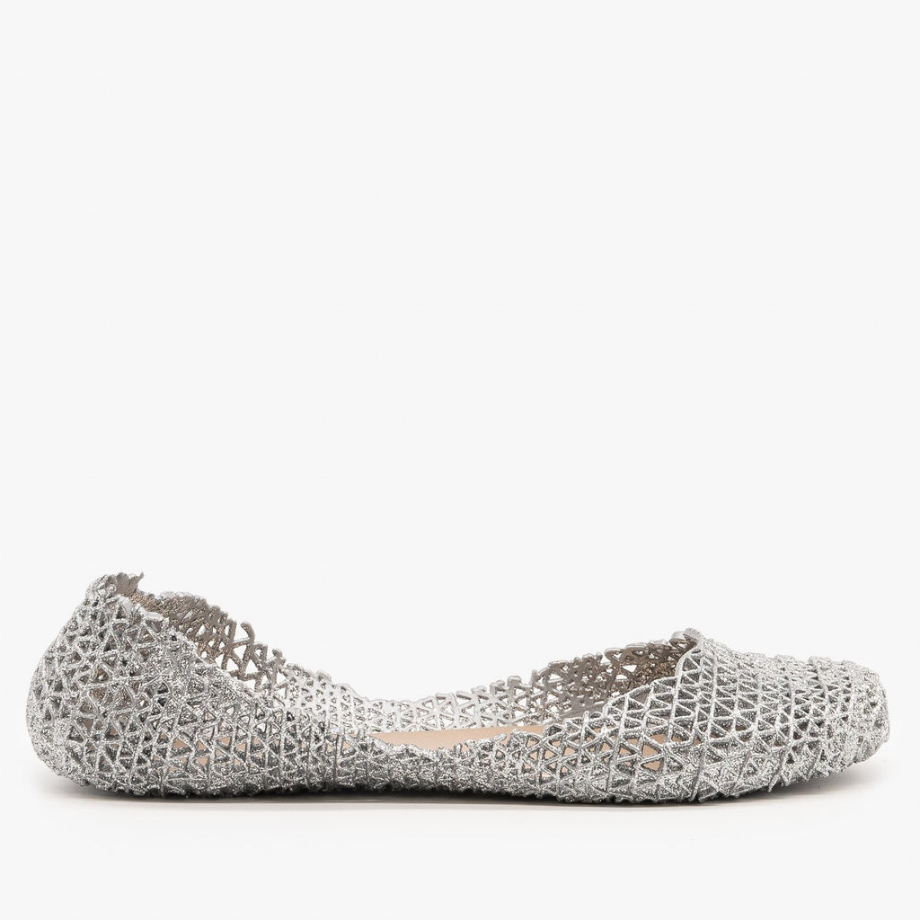 Womens Sparkly Jelly Ballet Flats - Anna Shoes - Silver / 5