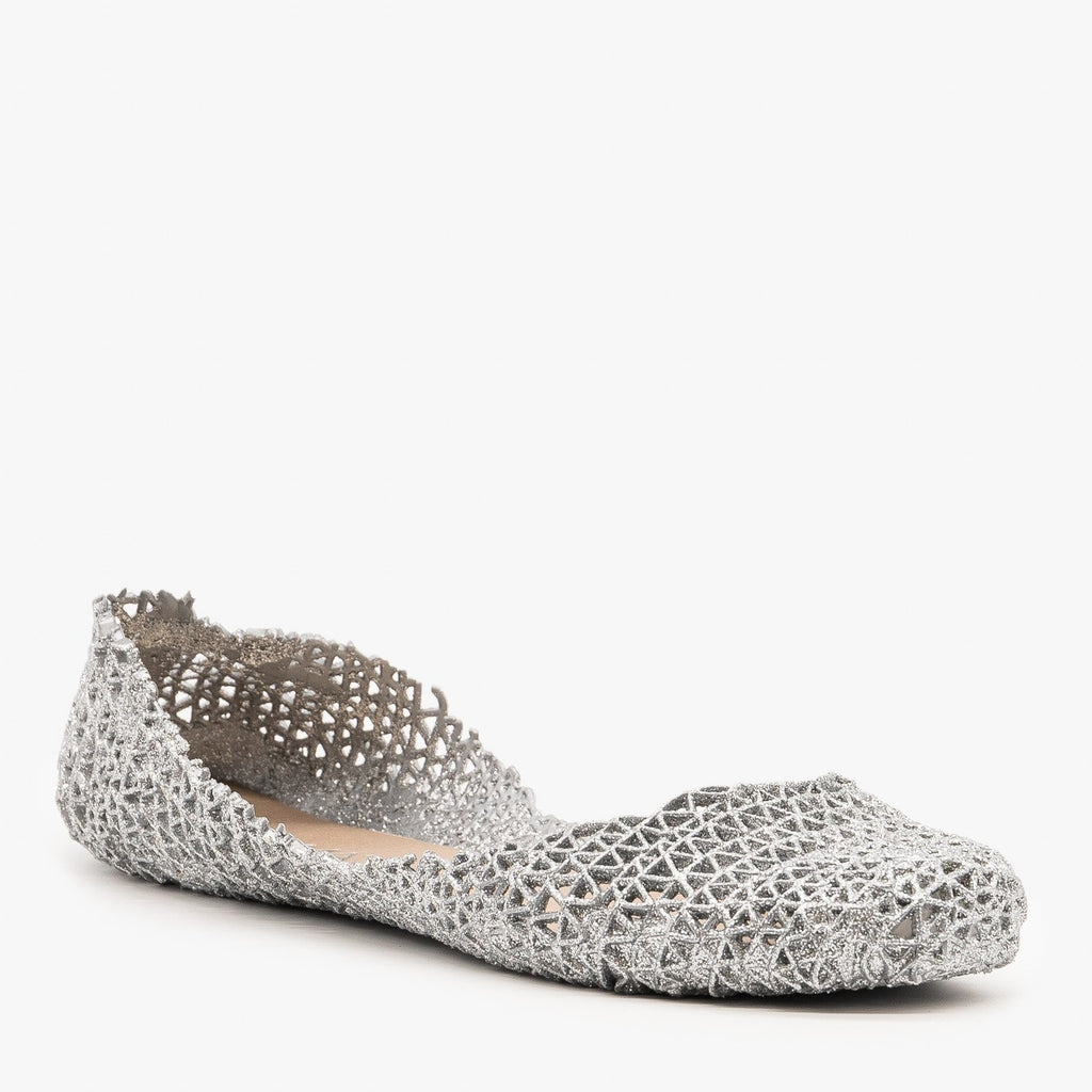 Womens Sparkly Jelly Ballet Flats - Anna Shoes