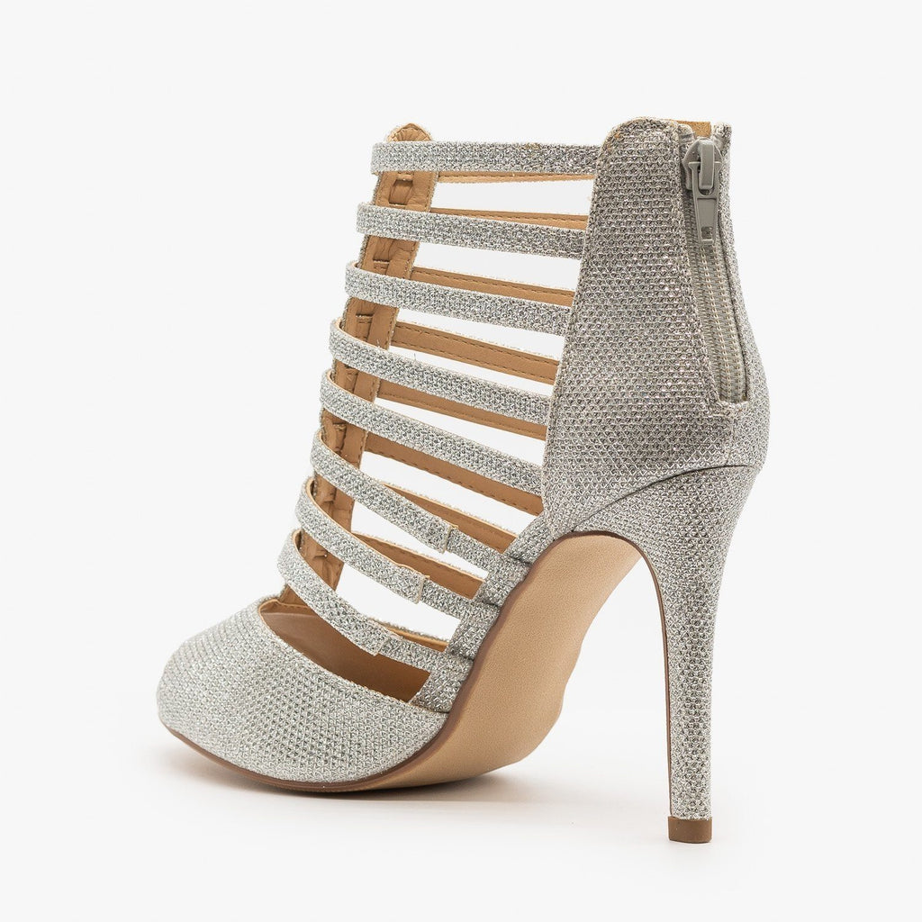 Womens Sparkly Peep Toe Gladiator Heels - Delicious Shoes