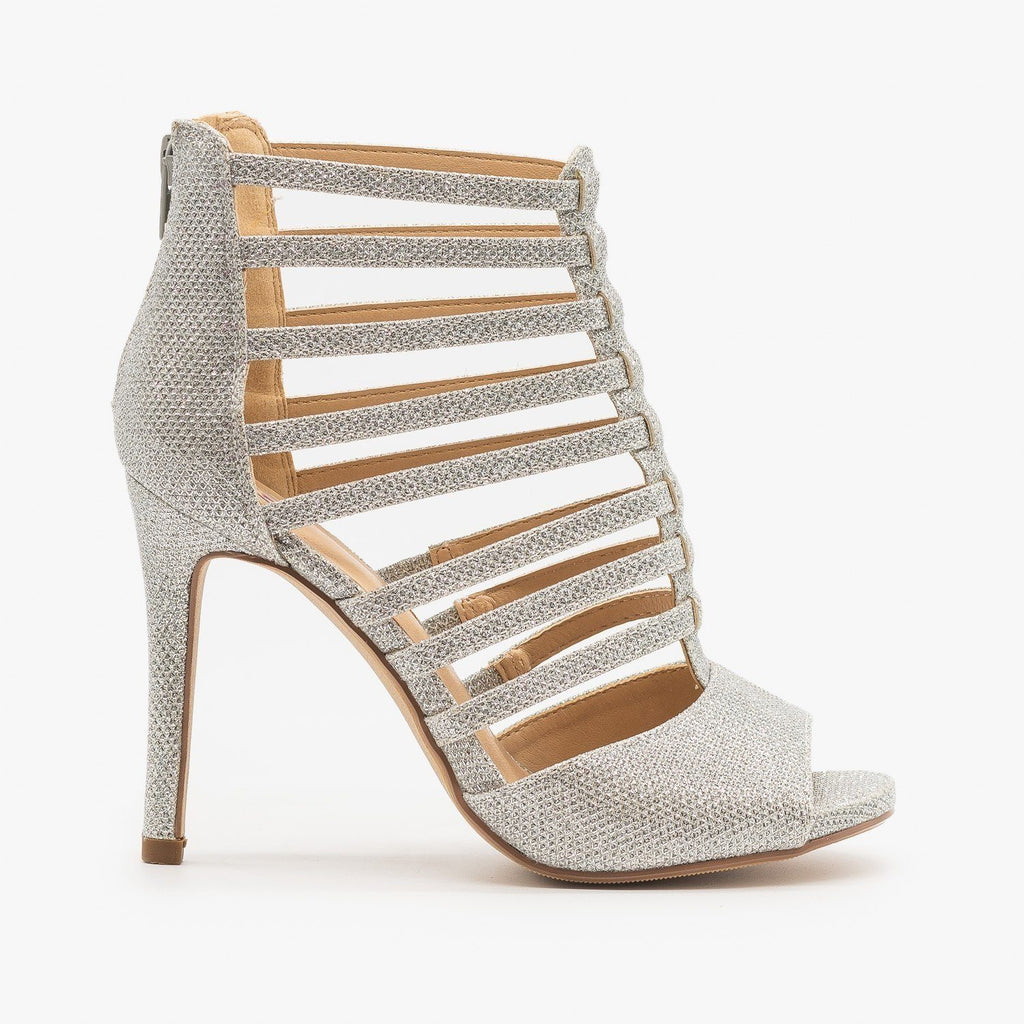 Womens Sparkly Peep Toe Gladiator Heels - Delicious Shoes - Silver Shimmer / 5