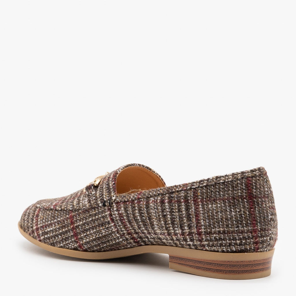 Womens Spiffy Plaid Loafers - Mata
