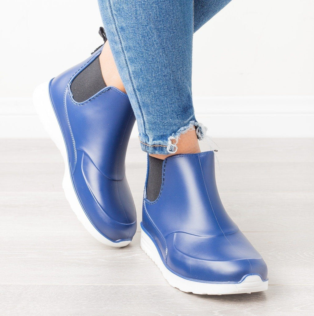 Womens Sporty Ankle Rain Boots - Yoki - Navy / 7