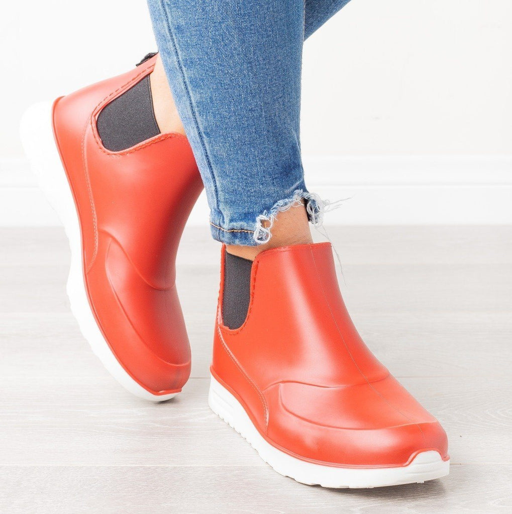 Womens Sporty Ankle Rain Boots - Yoki - Red / 6