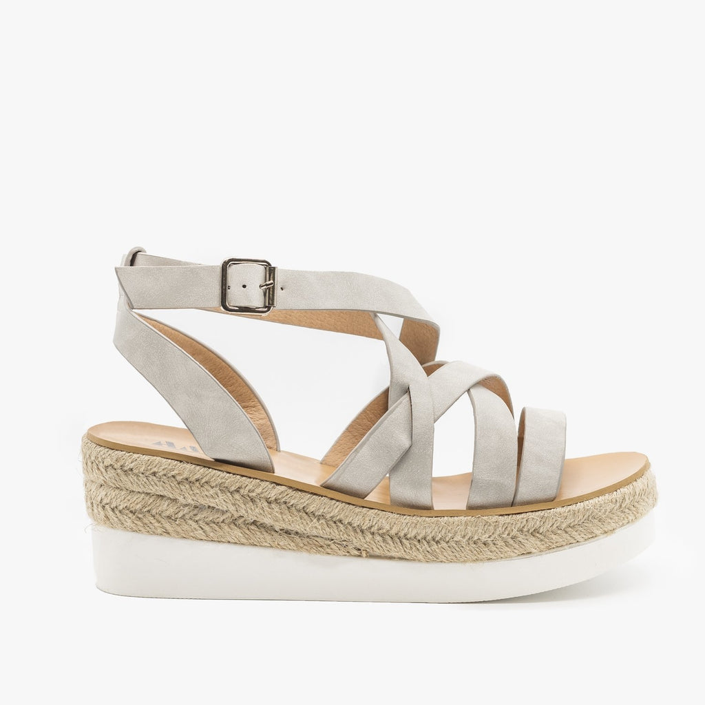 Womens Sporty Espadrille Sandal Wedges - AMS Shoes - Gray / 5
