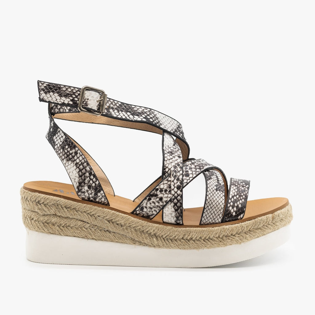 Womens Sporty Espadrille Sandal Wedges - AMS Shoes - Snake / 5