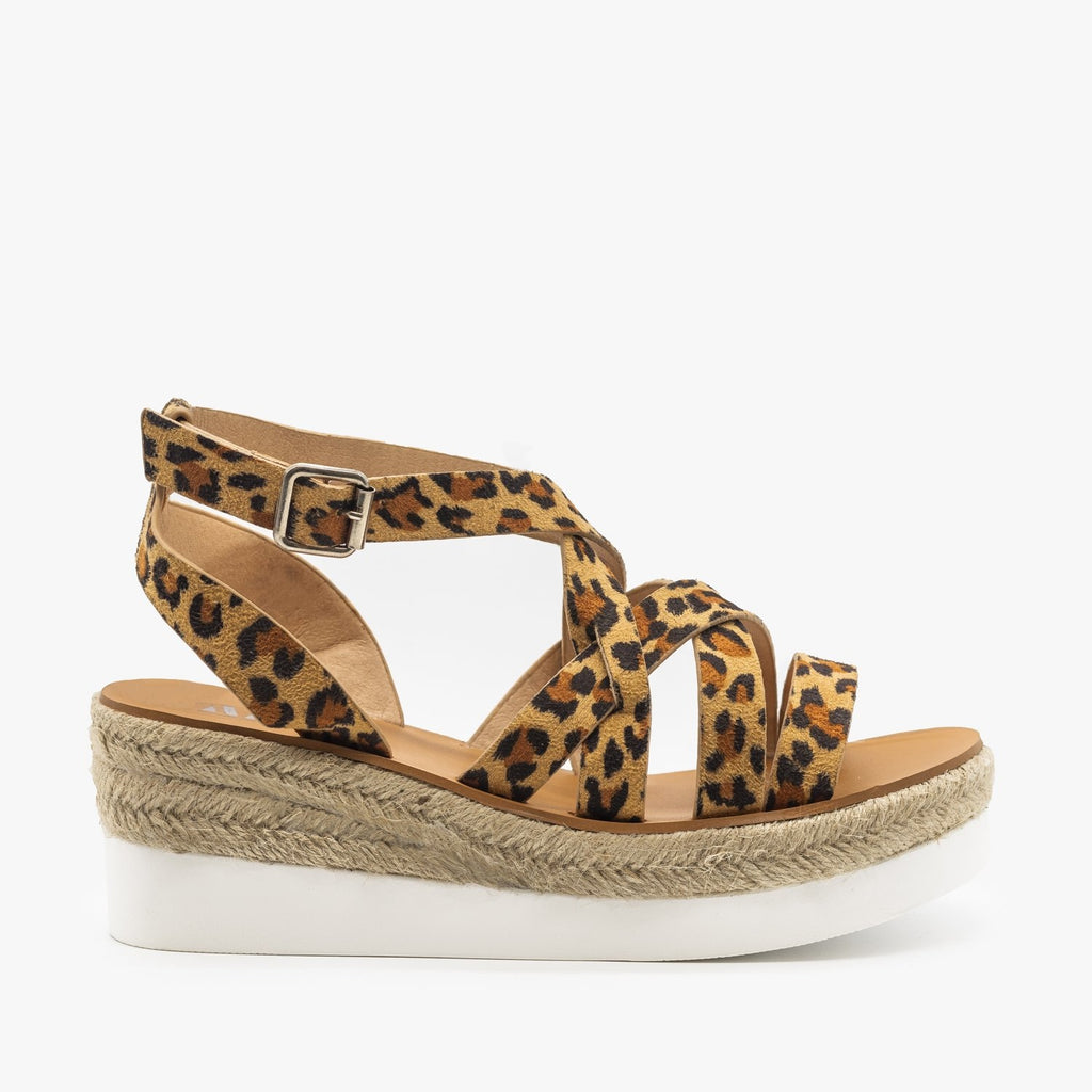 Womens Sporty Espadrille Sandal Wedges - AMS Shoes - Leopard / 5