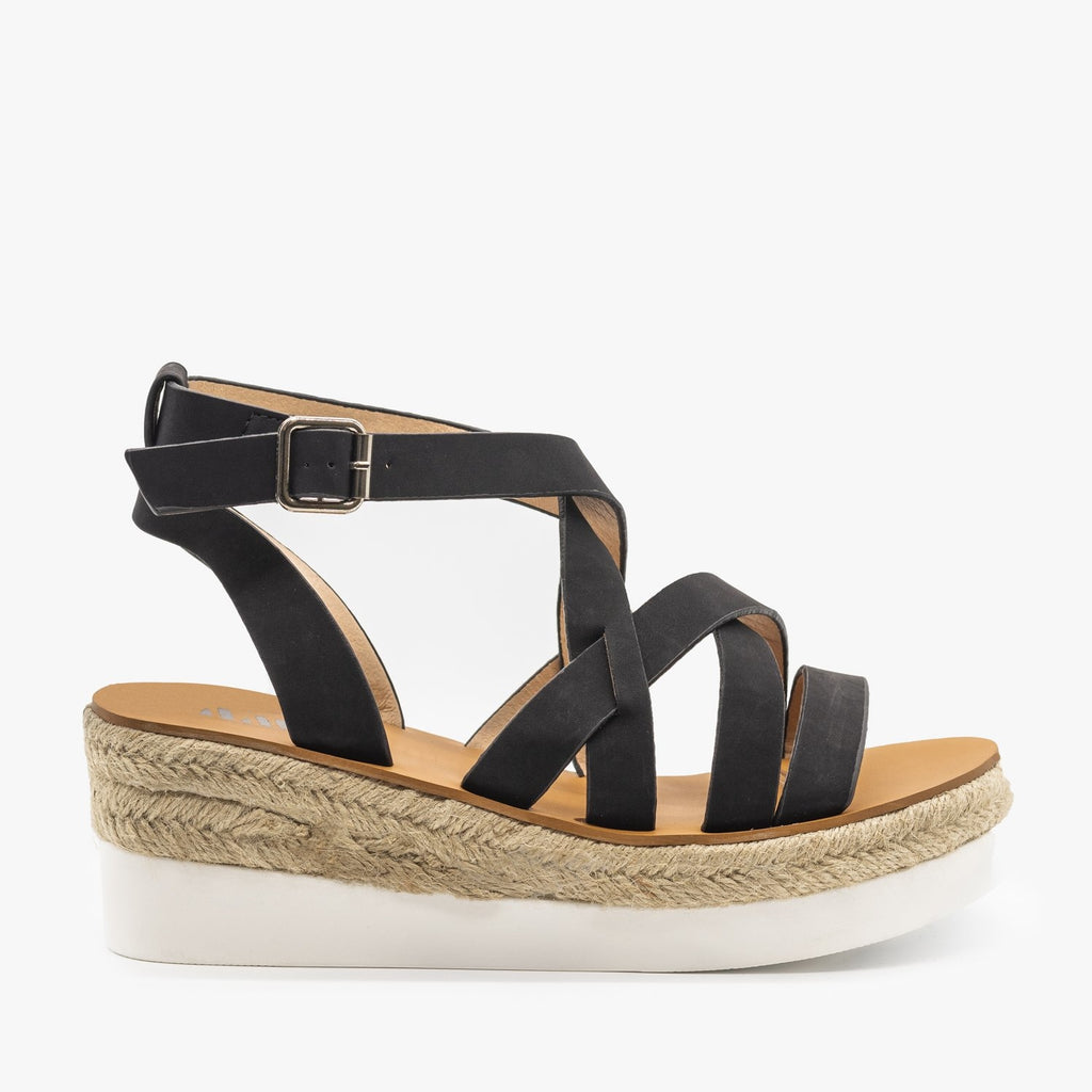 Womens Sporty Espadrille Sandal Wedges - AMS Shoes - Black / 5