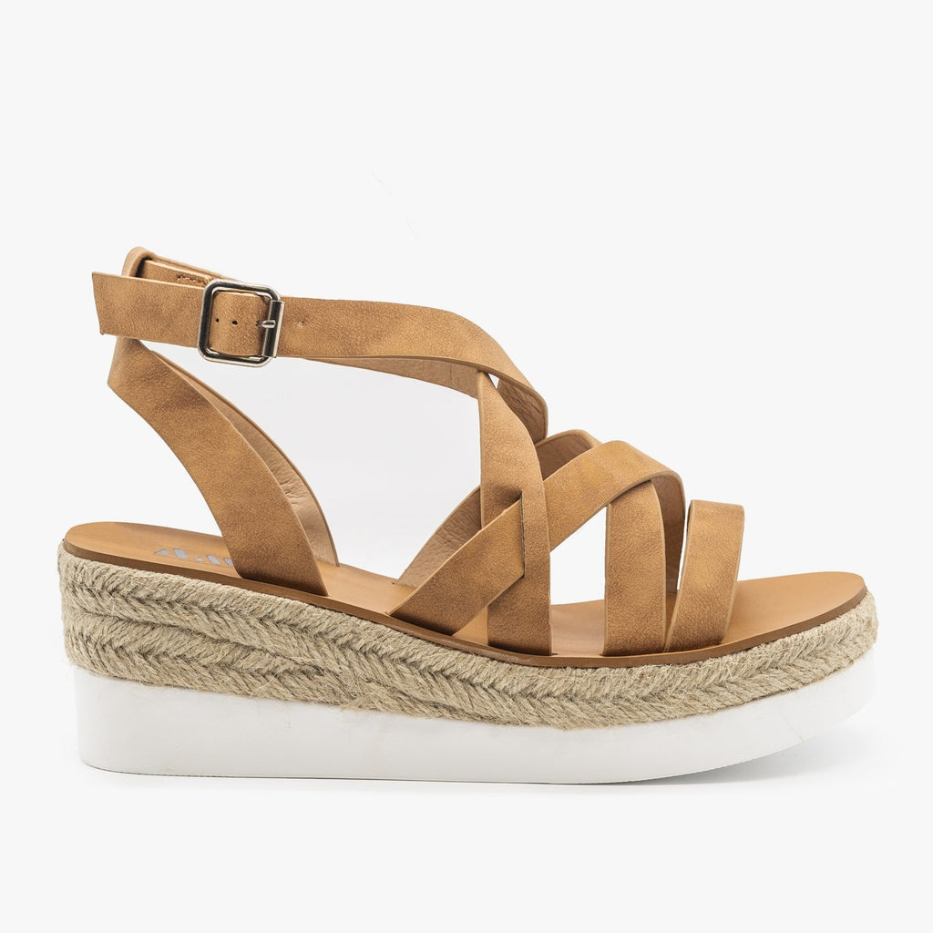 Womens Sporty Espadrille Sandal Wedges - AMS Shoes - Tan / 5