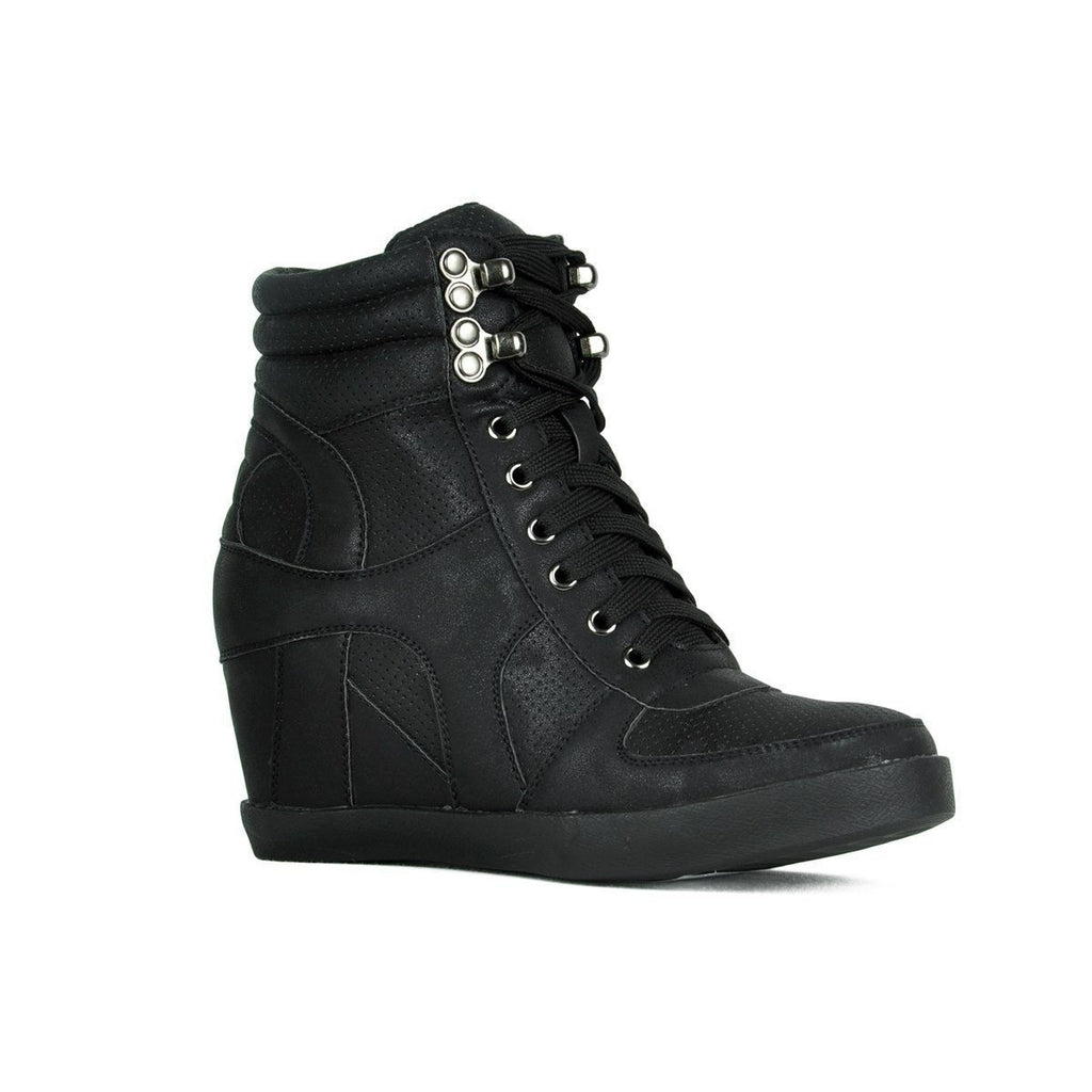 Womens Sporty Metallic Sneaker Wedges - Refresh - Black / 9